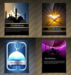 attractive set of brochure of ramadan kareem vector image