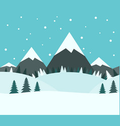 beautiful snowy winter landscape vector image vector image