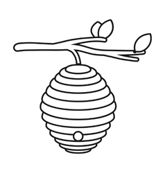Beehive icon in outline style isolated on white vector image vector image