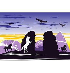 Black horses near rocks vector image