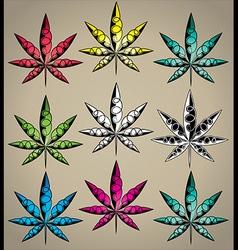Cannabis Marijuana textured colored leaf design vector image vector image