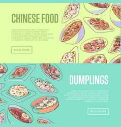Chinese food flyers with asian dishes vector