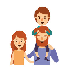 Colorful caricature half body family with wavy vector
