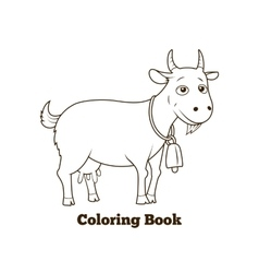 Coloring book goat cartoon educational vector image vector image