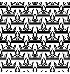 crowns seamless pattern in black and white vector image