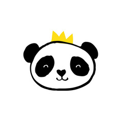 cute panda bear black and white vector image vector image