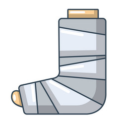 Foot in plaster icon cartoon style vector