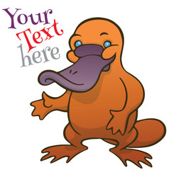 Funny happy cartoon platypus or duckbill vector