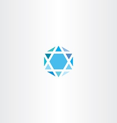 Geometric diamond hexagon blue icon star vector