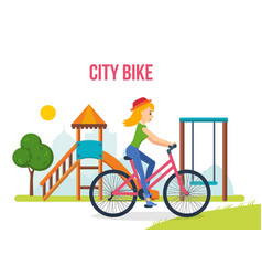 girl in summer clothes riding bike on playground vector image