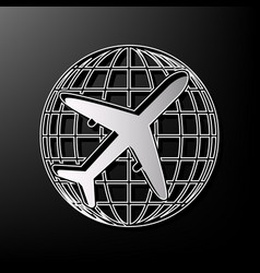 Globe and plane travel sign gray 3d vector