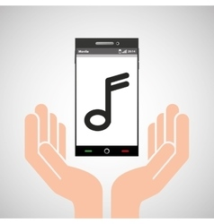 hand mobile phone music note vector image vector image