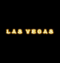 Las vegas sign with glowing lights retro label vector