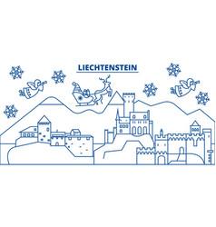 Liechtenstein winter city skyline merry christmas vector