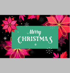 merry christmas greeting card with flowers and sn vector image vector image