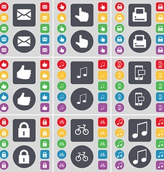 Message Hand Printer Like Note SMS Lock Bicycle vector image vector image