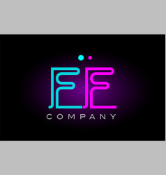 neon lights alphabet ff f f letter logo icon vector image vector image