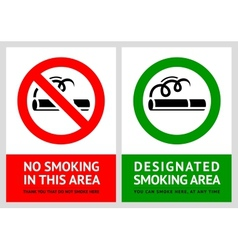 No smoking and Smoking area labels - Set 11 vector image vector image