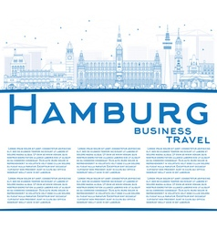 Outline Hamburg Skyline with Blue Buildings vector image