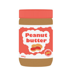 Peanut butter with peanuts cartoon flat style vector