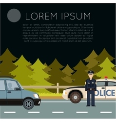Police on the road banner2 vector image vector image