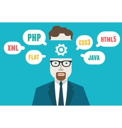 Programmer and process coding and programming vector image vector image