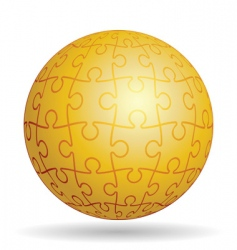 puzzle golden ball vector image vector image