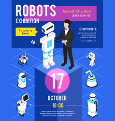 robots exhibition isometric poster vector image vector image