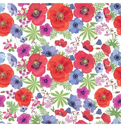 Seamless floral pattern with poppies and anemones vector
