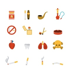 Smoking Icon Flat Set vector image
