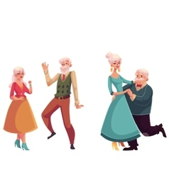 Two couples of old senior people dancing together vector