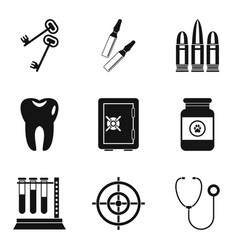 Urgent icons set simple style vector