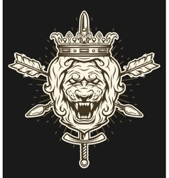 Vintage symbol of a lion head with crown vector image vector image