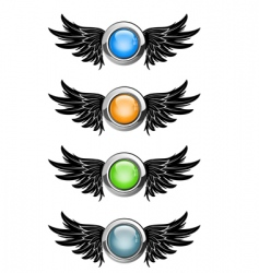 winged round buttons vector image