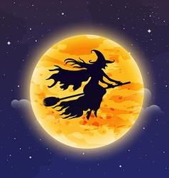 Witch flying on broomstick halloween background vector