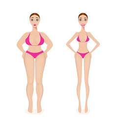 woman weight loss success before and after obesity vector image
