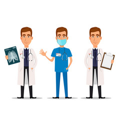 Young professional doctor set with x-ray shot vector