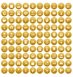 100 work icons set gold vector