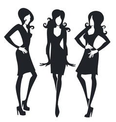 Collection of fashionable girls images vector