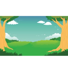 Green forest landscape background vector