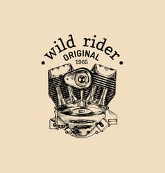 wild rider vintage motorcycle logo biker vector image
