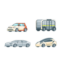 Colorful electric cars collection vector