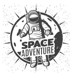 Monochrome vintage space research label template vector