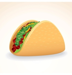 Fast food icon taco with beef  vegetables vector