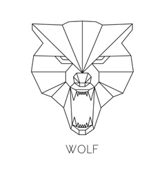 Wolf head geometric style print t-shirt vector