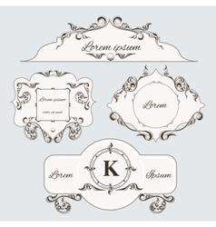 Set of vintage ornament frame and labels vector image
