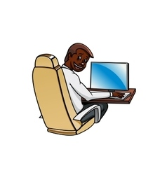 Businessman working at a desktop computer vector