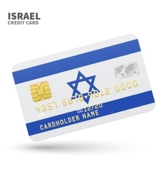 Credit card with israel flag background for bank vector
