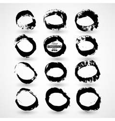 Set of round grunge frames vector