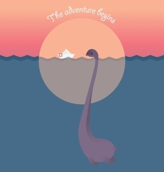 Nessie and ship in lake adventure begins vector